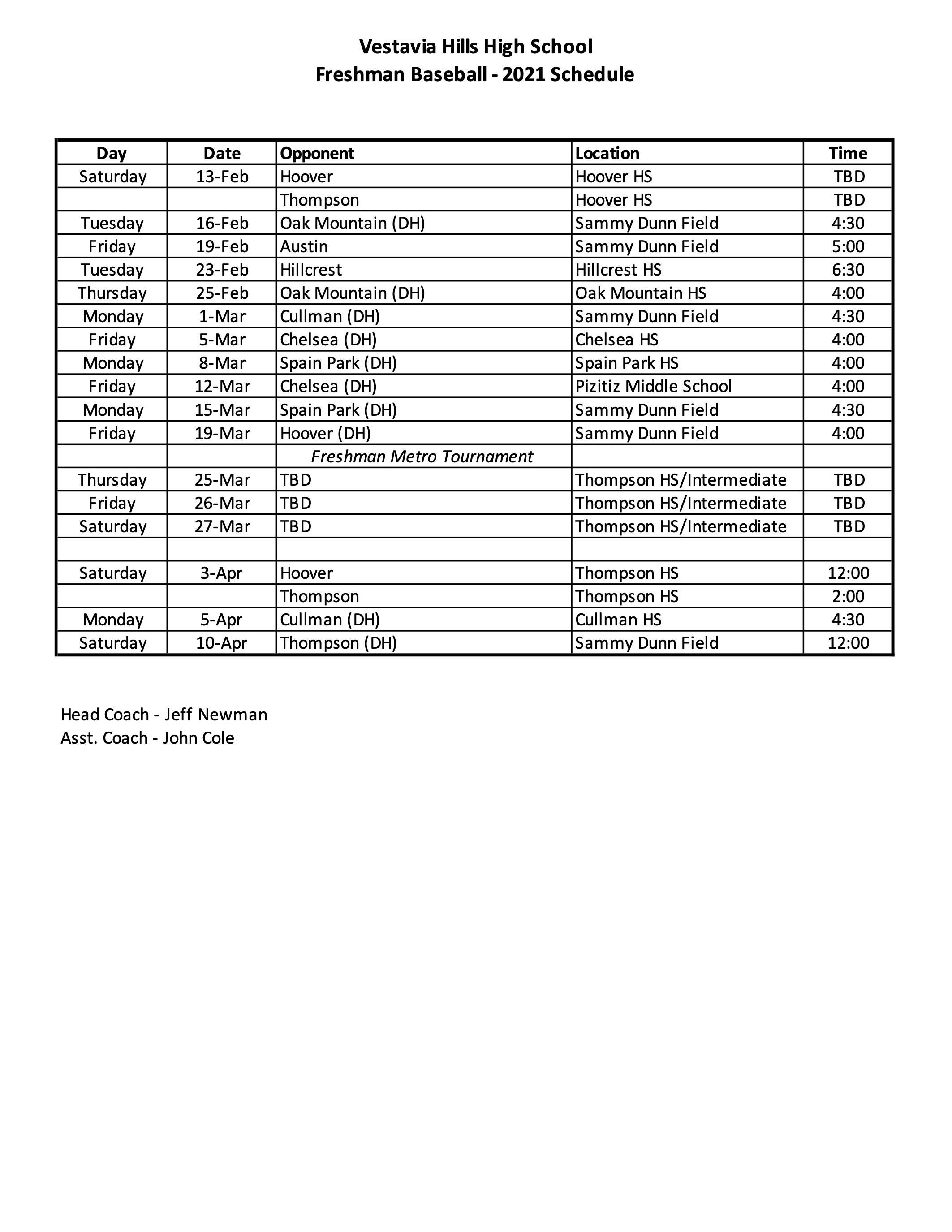 2021 Freshman Schedule