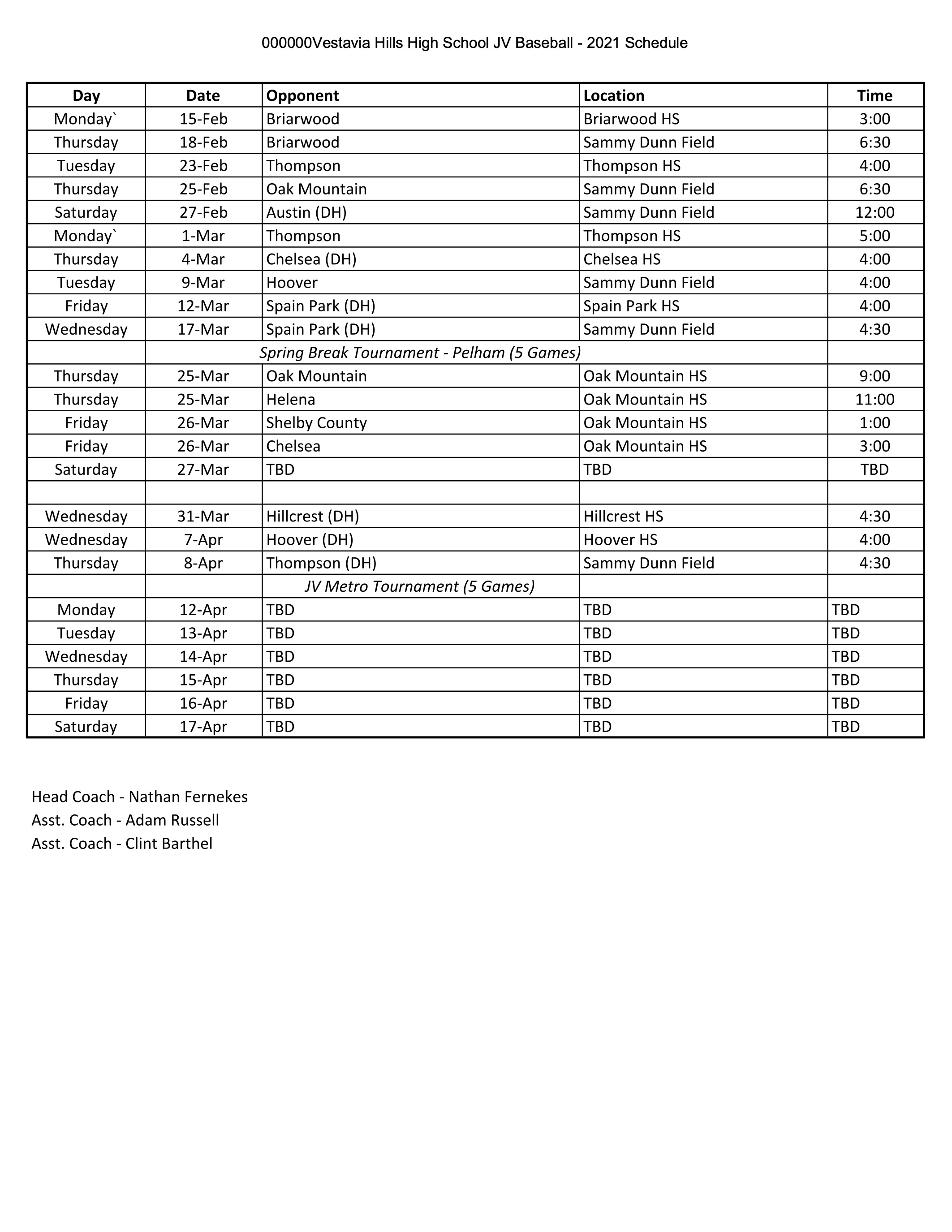 2021 JV Baseball Schedule