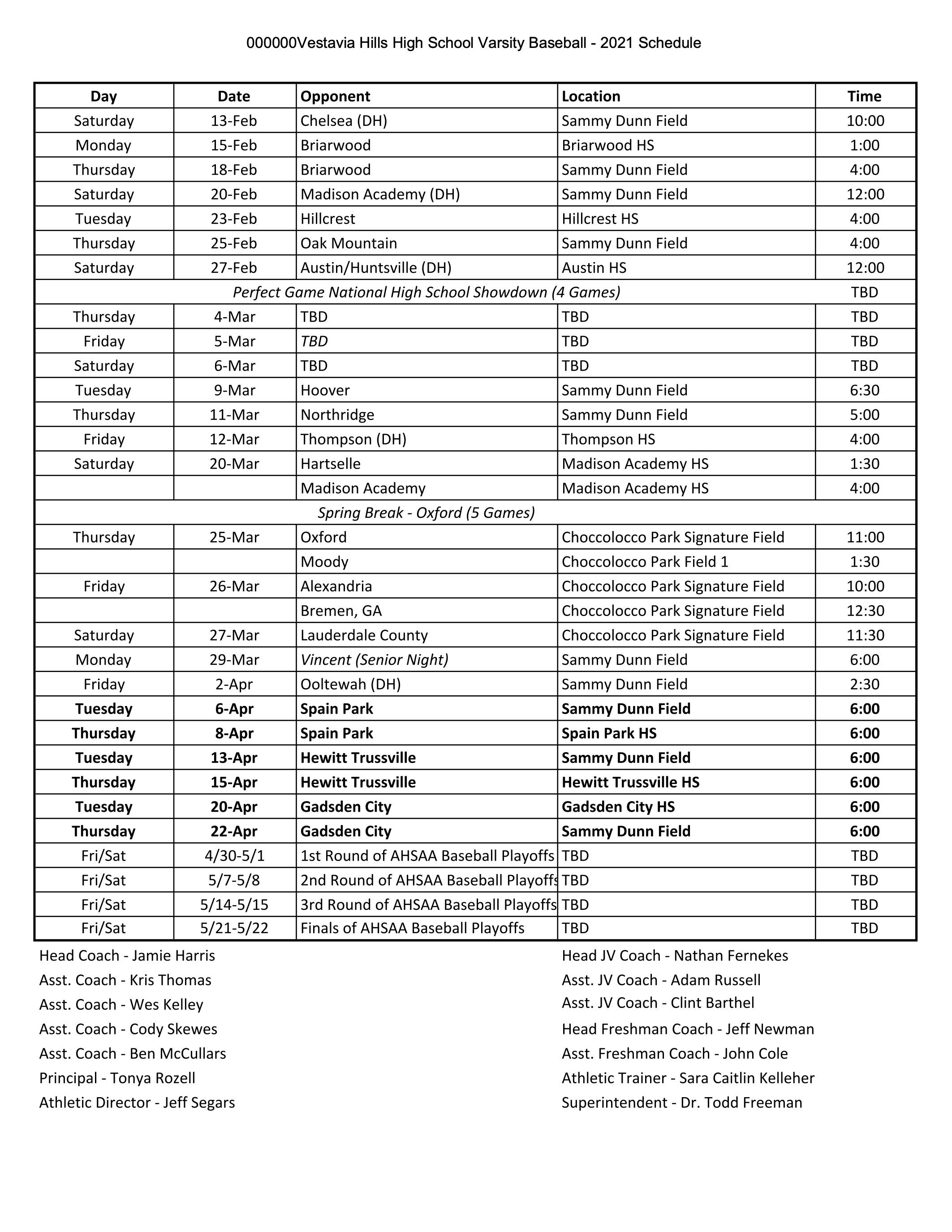 2021 Varsity Schedule